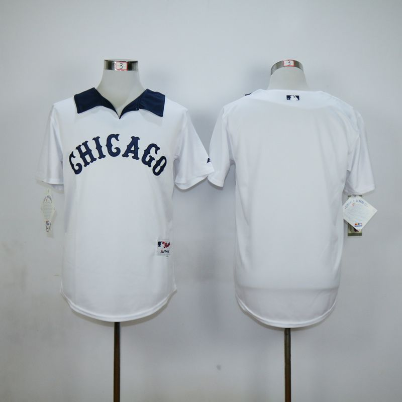 Men Chicago White Sox Blank White Throwback MLB Jerseys