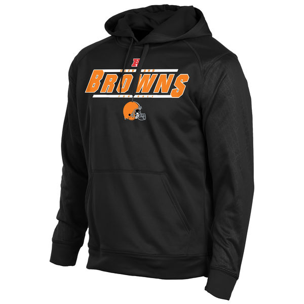 Men Cleveland Browns Historic Logo Majestic Synthetic Hoodie Sweatshirt Black
