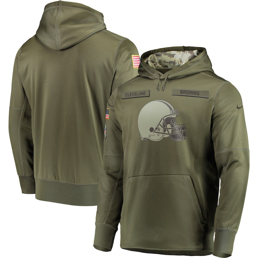 Men Cleveland Browns Nike Olive Salute To Service KO Performance Hoodie Green