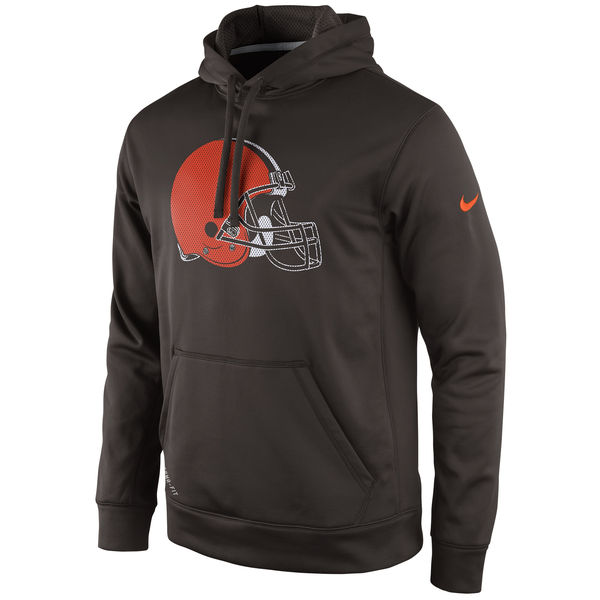 Men Cleveland Browns Nike Practice Performance Pullover Hoodie Brown