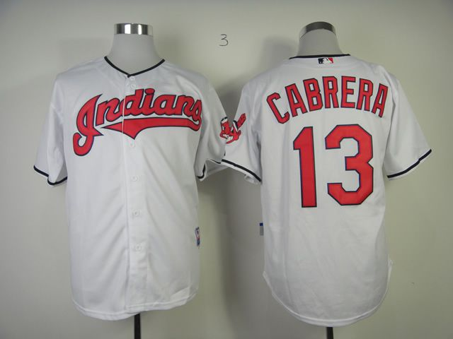 Men Cleveland Indians 13 Cabrera White MLB Jerseys