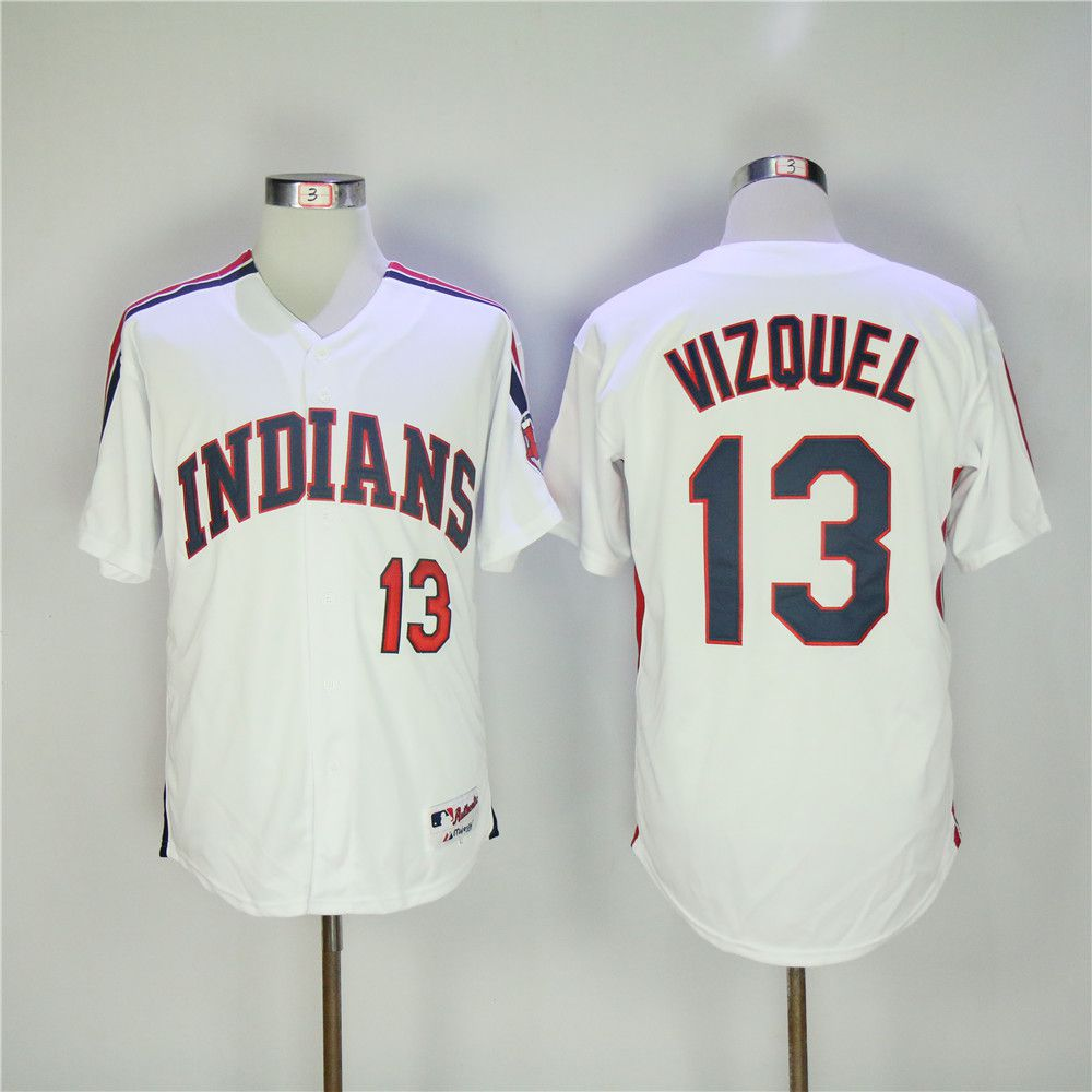 Men Cleveland Indians 13 Vizquel White MLB Jerseys