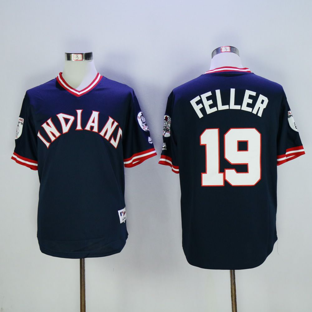 Men Cleveland Indians 19 Feller Blue Throwback MLB Jerseys