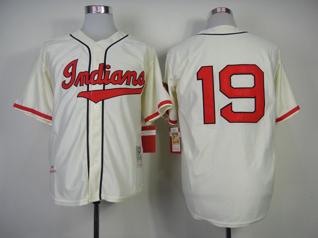 Men Cleveland Indians 19 Feller Cream Throwback MLB Jerseys
