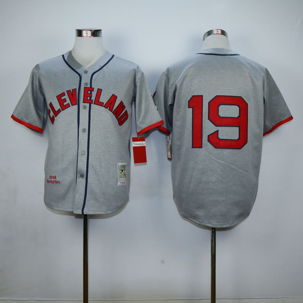 Men Cleveland Indians 19 Feller Grey Throwback MLB Jerseys