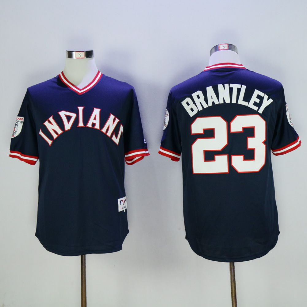 Men Cleveland Indians 23 Brantley Blue 1976 MLB Jerseys