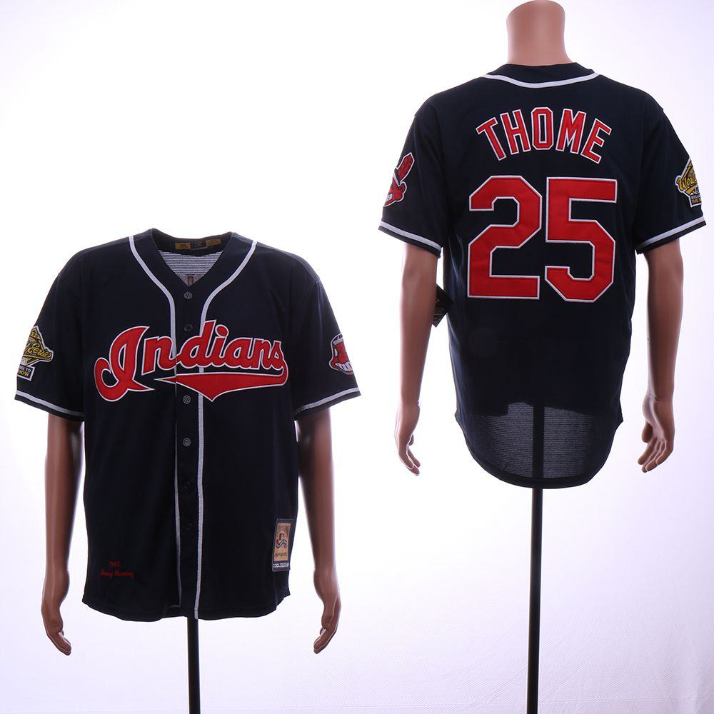 Men Cleveland Indians 25 Thome Blue Throwback 1995 MLB Jerseys