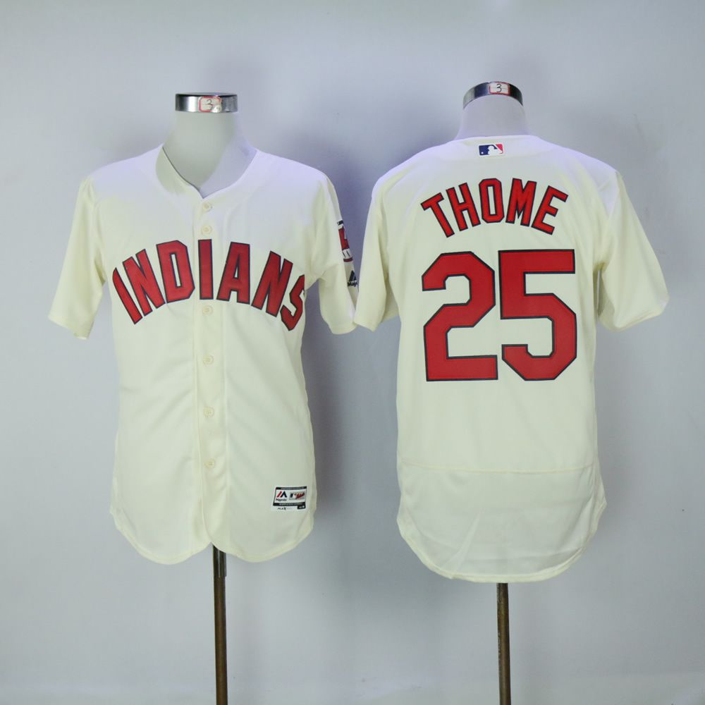 Men Cleveland Indians 25 Thome Cream MLB Jerseys