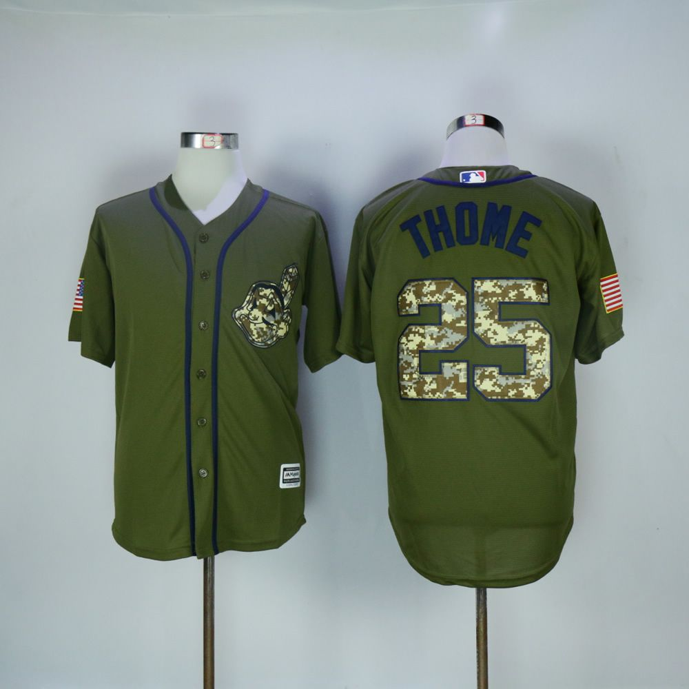 Men Cleveland Indians 25 Thome Green MLB Jerseys