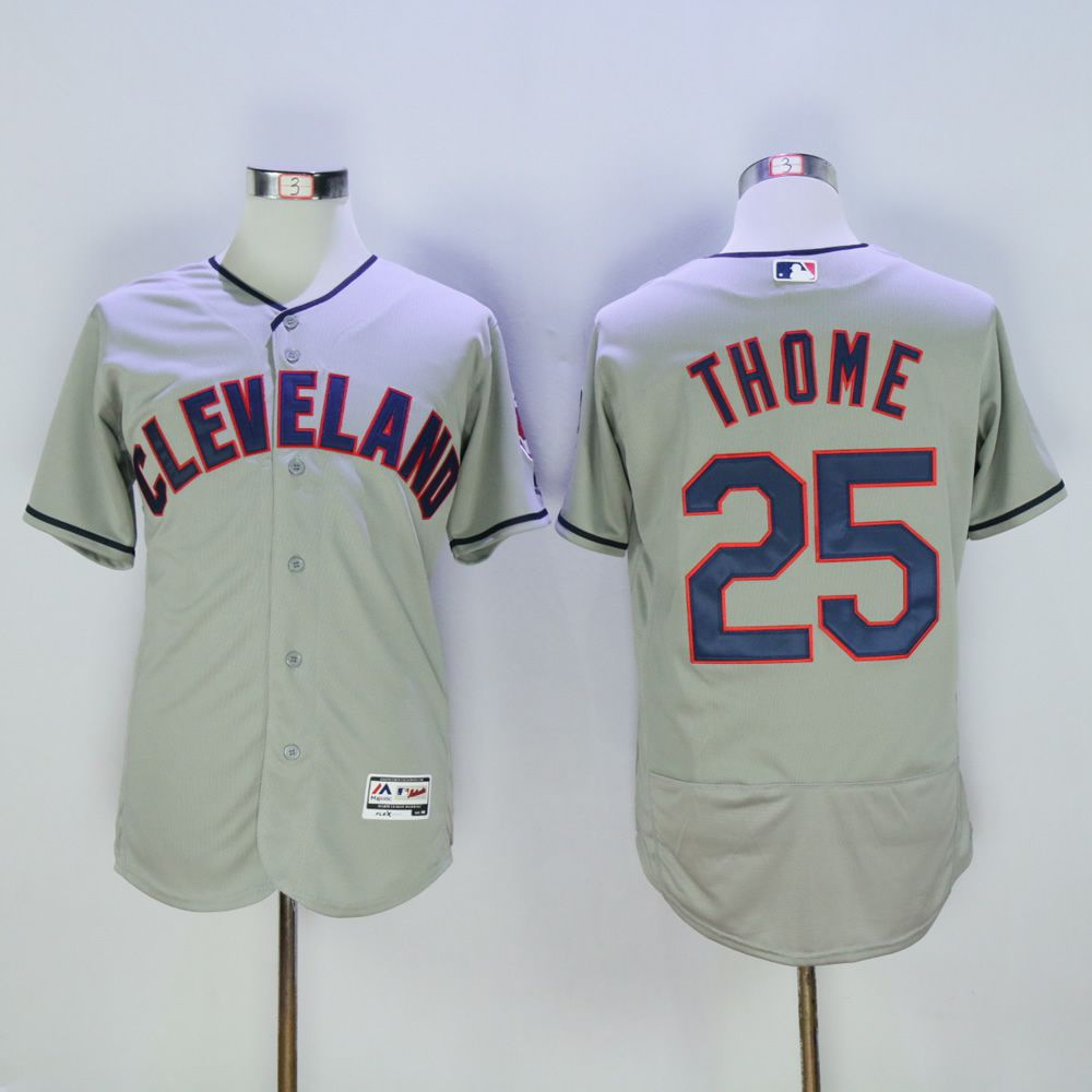 Men Cleveland Indians 25 Thome Grey MLB Jerseys