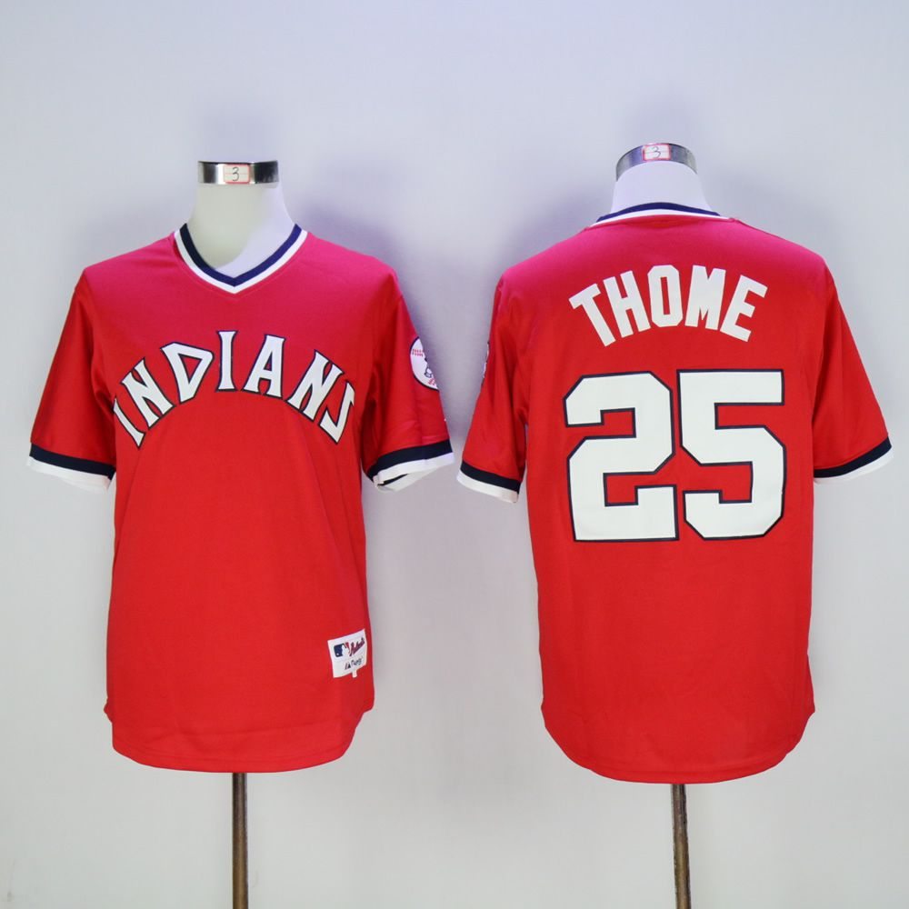 Men Cleveland Indians 25 Thome Red 1976 MLB Jerseys
