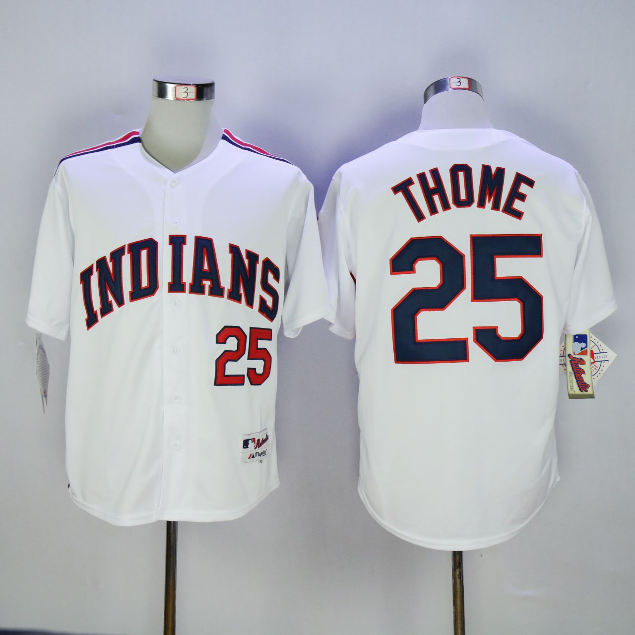 Men Cleveland Indians 25 Thome White 1978 MLB Jerseys