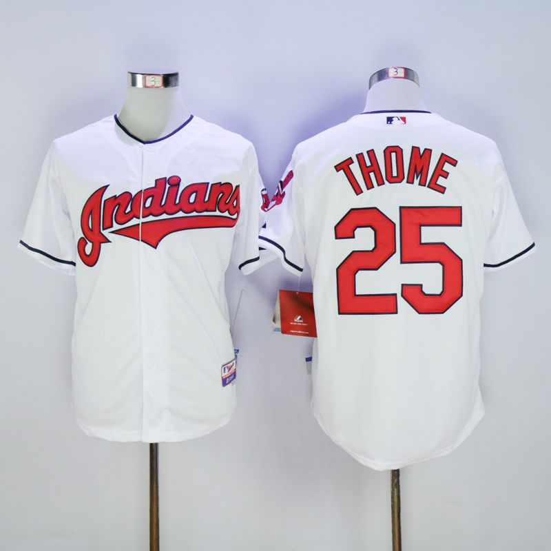 Men Cleveland Indians 25 Thome White MLB Jerseys