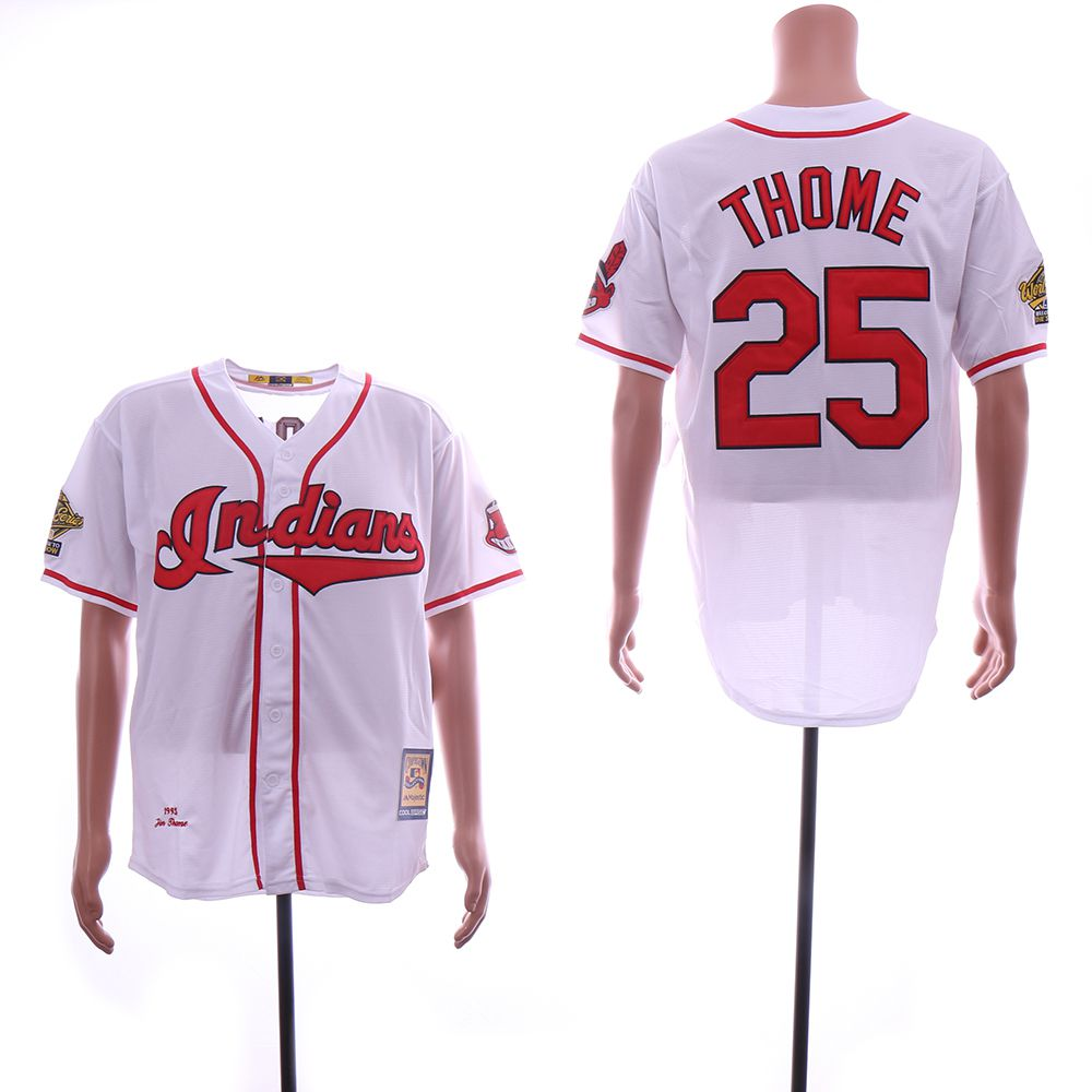 Men Cleveland Indians 25 Thome White Throwback MLB Jerseys