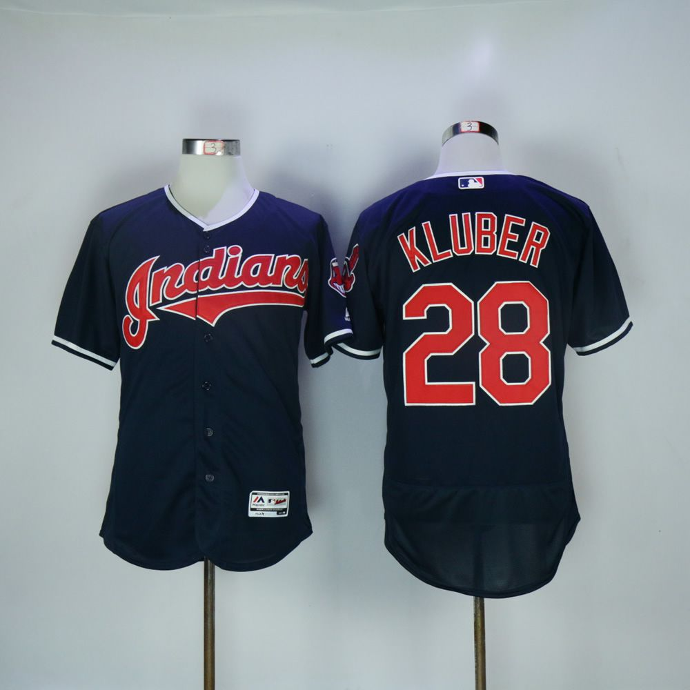 Men Cleveland Indians 28 Kluber Blue MLB Jerseys
