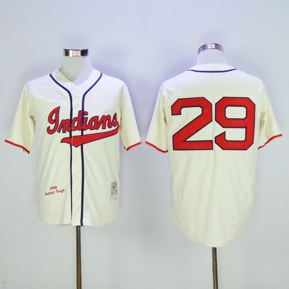 Men Cleveland Indians 29 Paige Cream Throwback MLB Jerseys