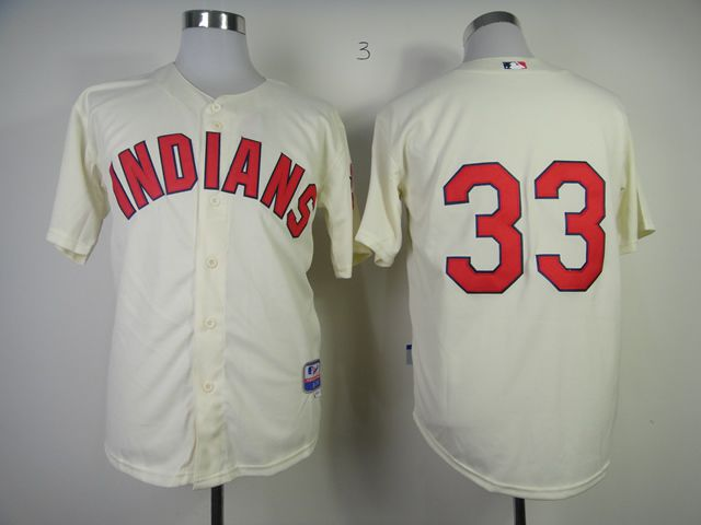 Men Cleveland Indians 33 Swisher Cream MLB Jerseys