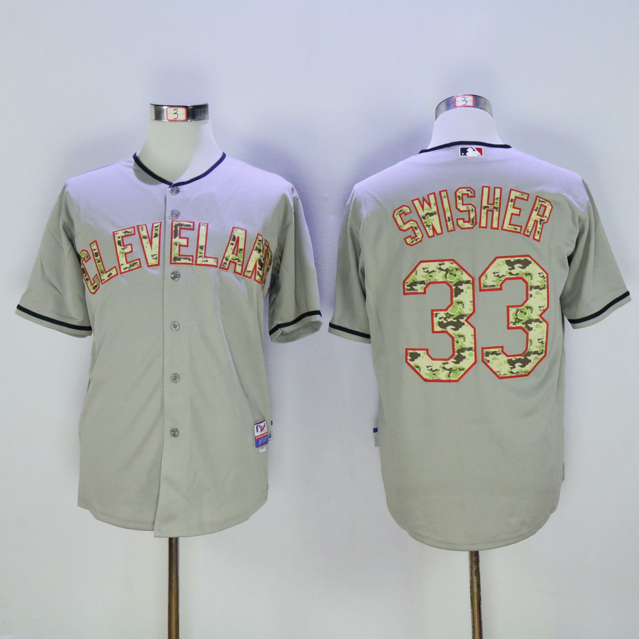 Men Cleveland Indians 33 Swisher Grey Camo MLB Jerseys