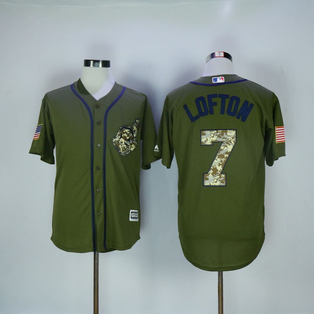 Men Cleveland Indians 7 Lofton Green MLB Jerseys