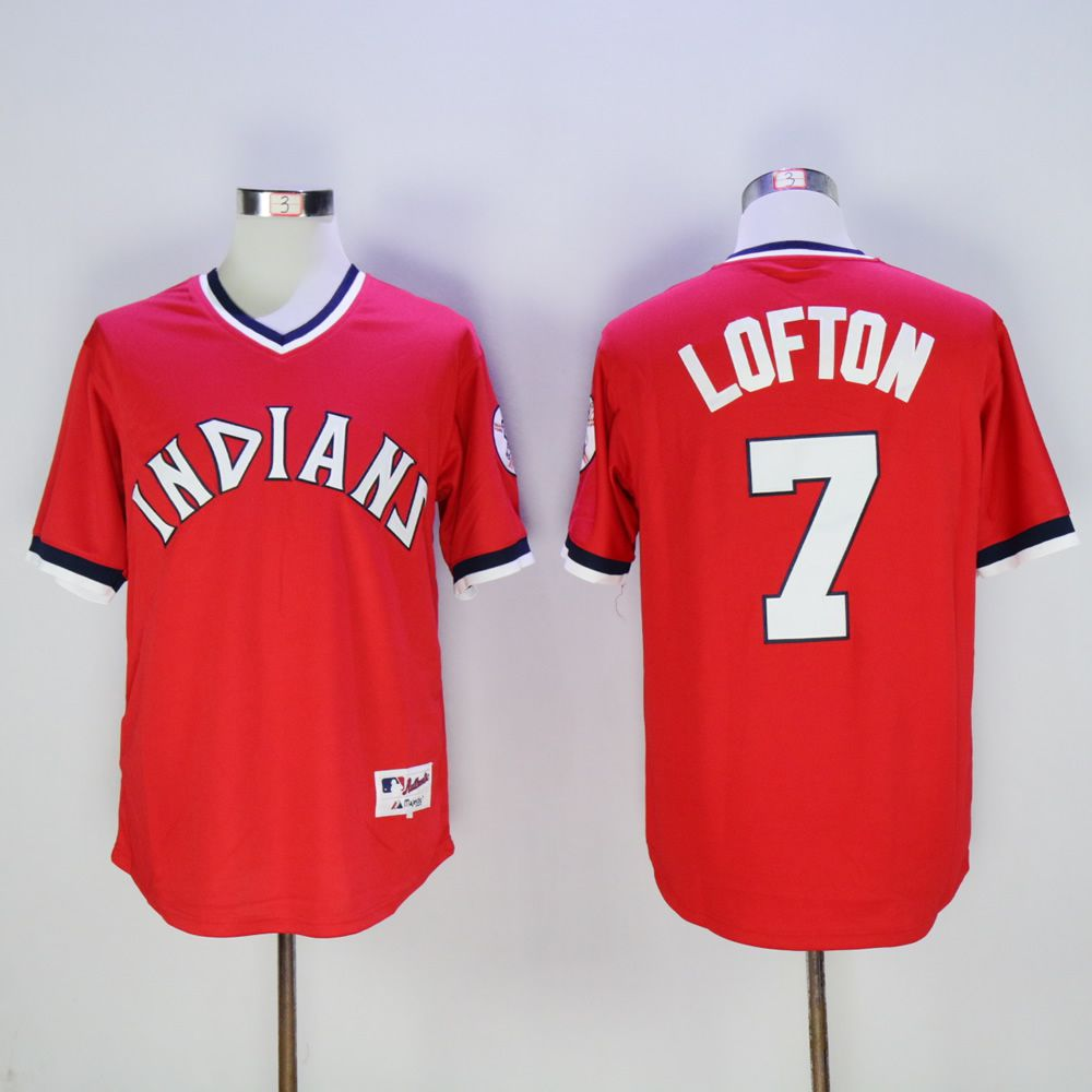 Men Cleveland Indians 7 Lofton Red Throwback 1976 MLB Jerseys