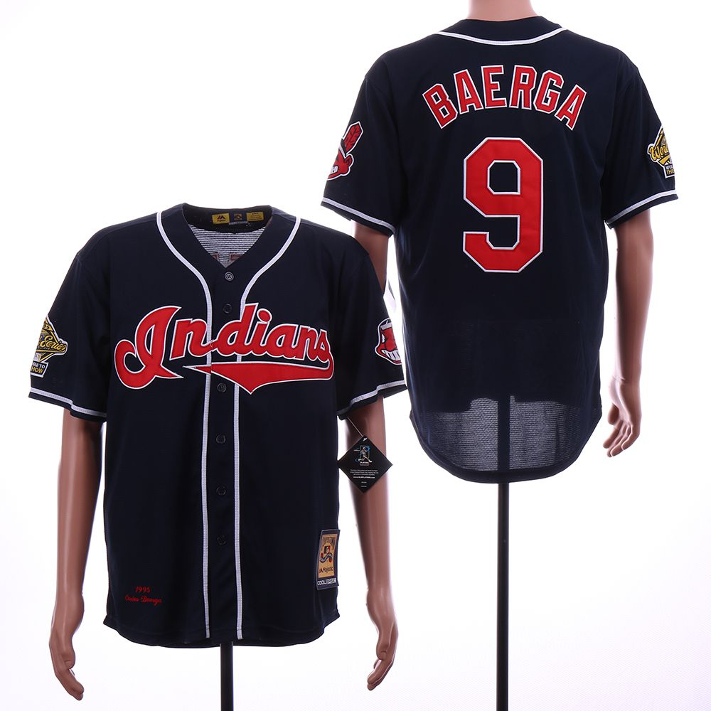 Men Cleveland Indians 9 Baerga Blue Throwback MLB Jerseys