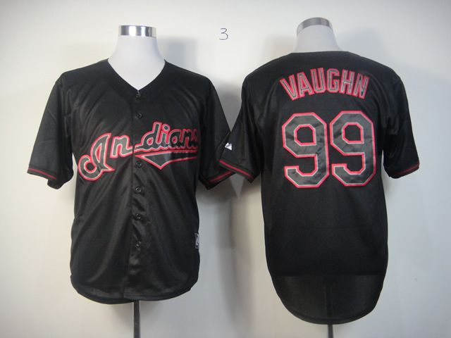 Men Cleveland Indians 99 Vaughn Black MLB Jerseys