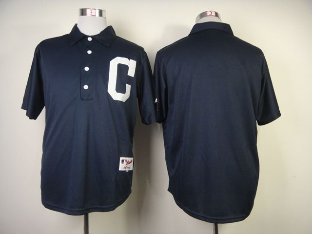 Men Cleveland Indians Blank Blue 1902 MLB Jerseys