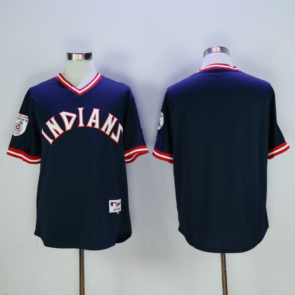 Men Cleveland Indians Blank Blue Throwback MLB Jerseys