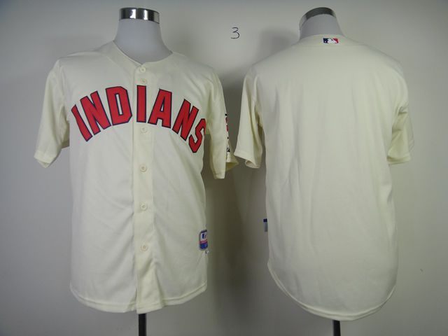 Men Cleveland Indians Blank Cream MLB Jerseys