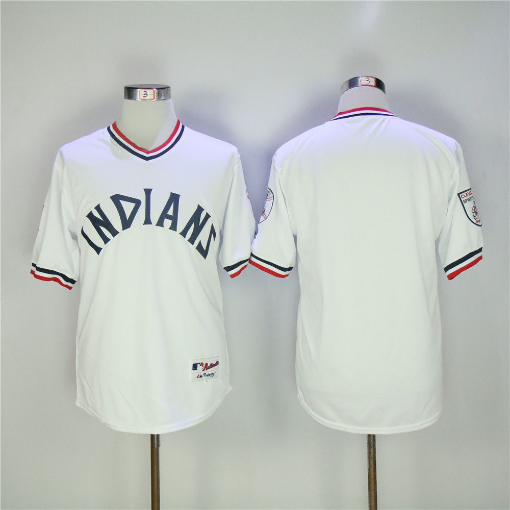Men Cleveland Indians Blank White Throwback MLB Jerseys