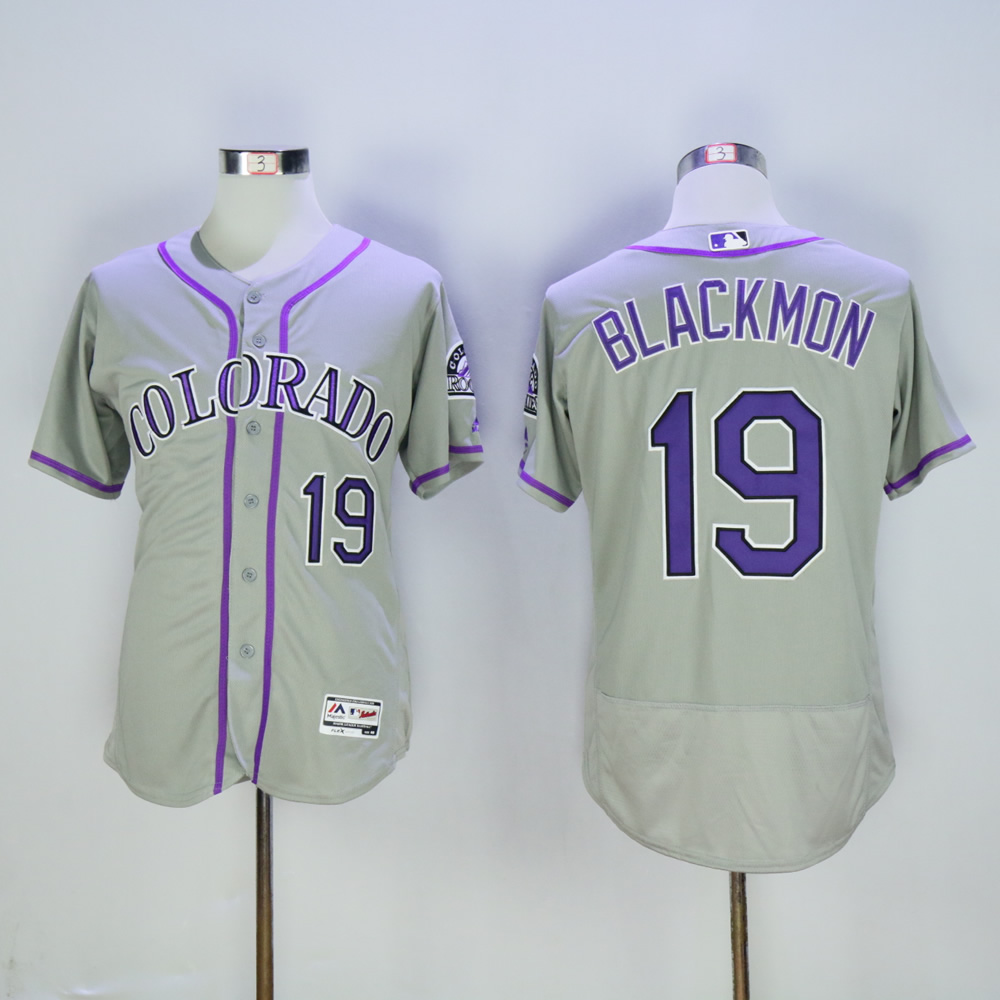 Men Colorado Rockies 19 Blackmon Grey MLB Jerseys