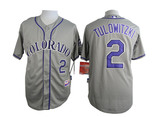 Men Colorado Rockies 2 Tulowitzki Grey MLB Jerseys