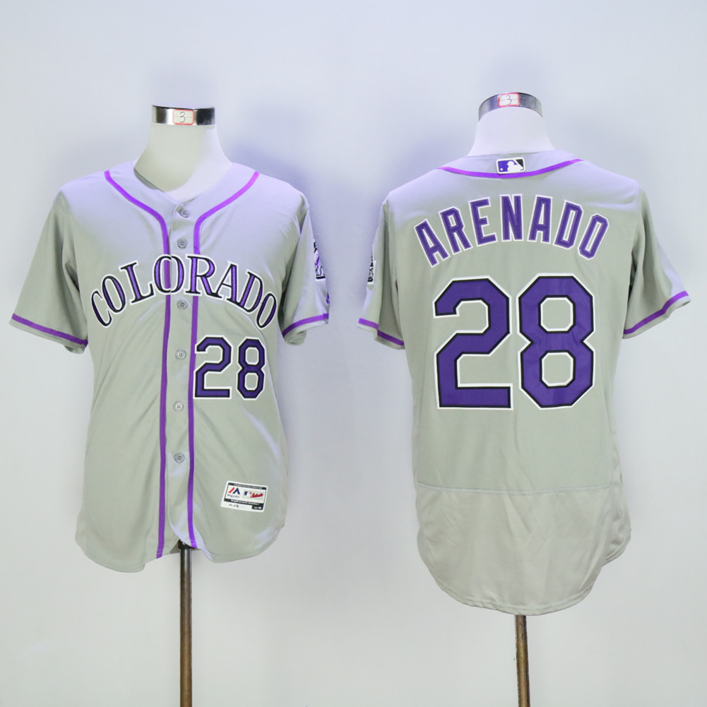 Men Colorado Rockies 28 Arenado Grey Elite MLB Jerseys