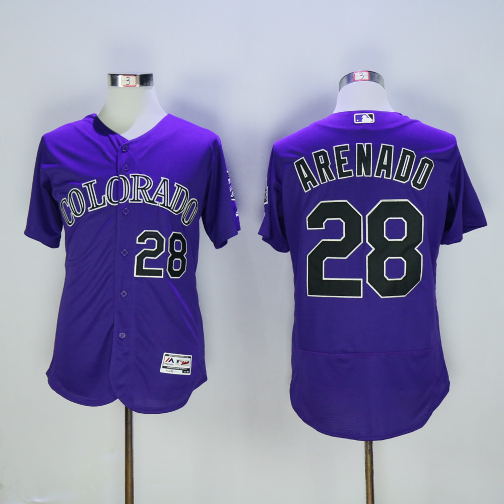 Men Colorado Rockies 28 Arenado Purple MLB Jerseys