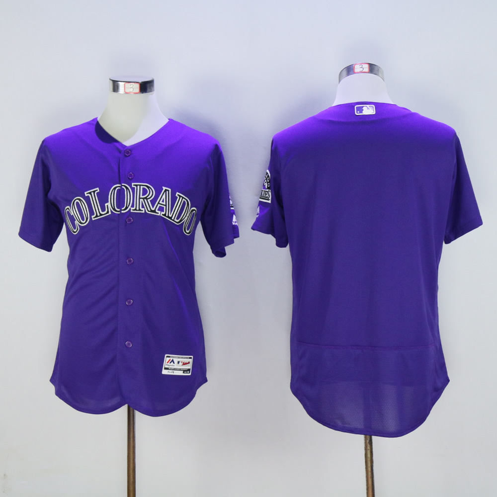Men Colorado Rockies Blank Purple Elite MLB Jerseys