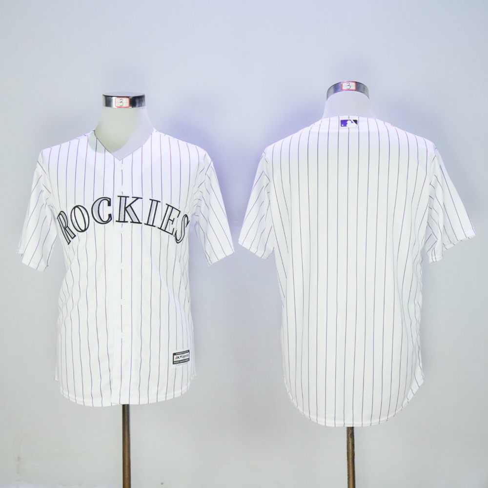Men Colorado Rockies Blank White Game MLB Jerseys