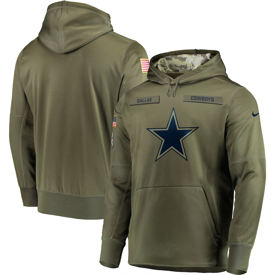 Men Dallas Cowboys Nike Olive Salute To Service KO Performance Hoodie Green