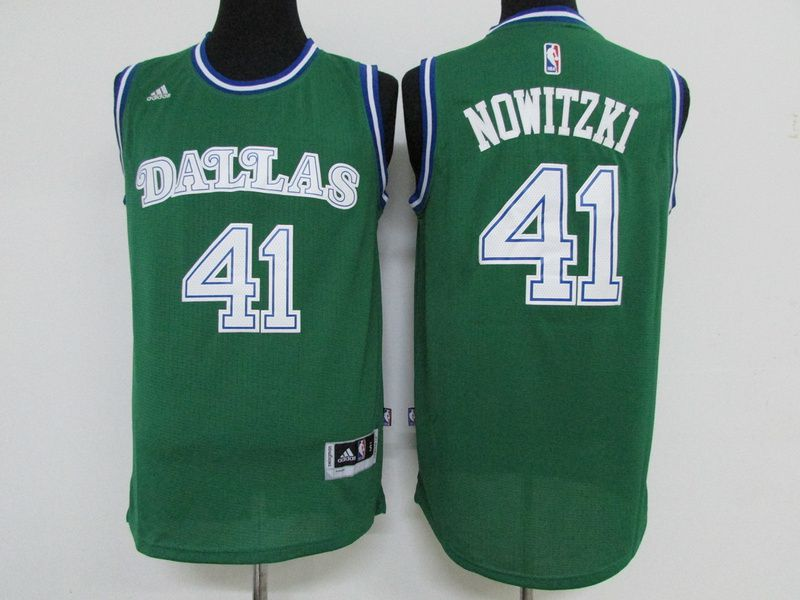 Men Dallas Mavericks 41 Nowitzki Green Adidas NBA Jerseys