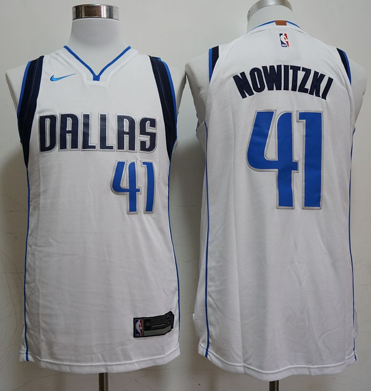 Men Dallas Mavericks 41 Nowitzki White Game Nike NBA Jerseys