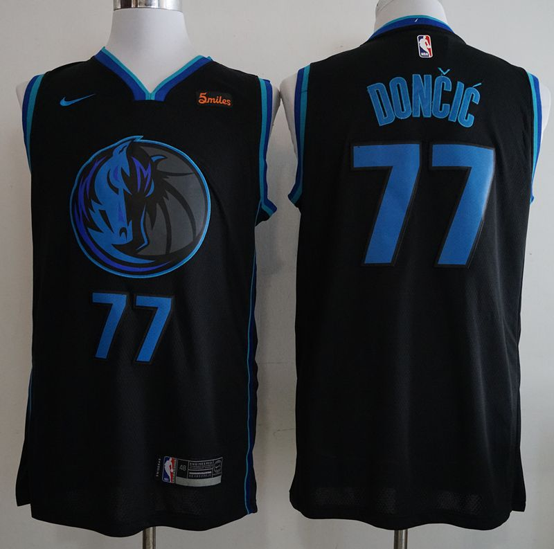 Men Dallas Mavericks 77 Doncic Black City Edition Game Nike NBA Jerseys
