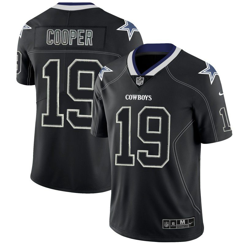 Men Dallas cowboys 19 Cooper Nike Lights Out Black Color Rush Limited NFL Jerseys