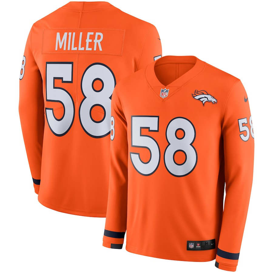 Men Denver Broncos 58 Miller Yellow Limited NFL Nike Therma Long Sleeve Jersey