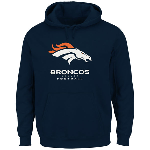 Men Denver Broncos Critical Victory Pullover Hoodie Navy Blue