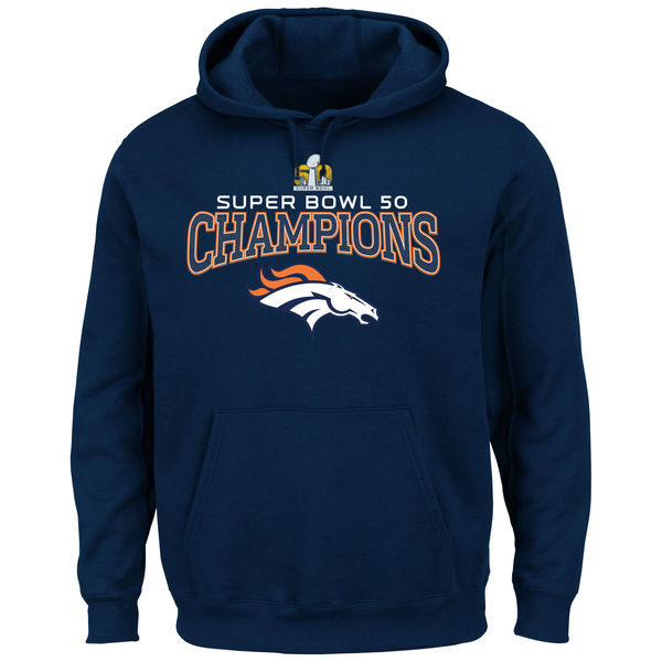 Men Denver Broncos Majestic Big Tall Super Bowl 50 Champions Choice VIII Pullover Hoodie Navy