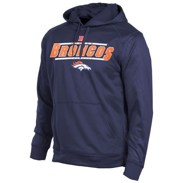 Men Denver Broncos Majestic Synthetic Hoodie Sweatshirt Navy Blue