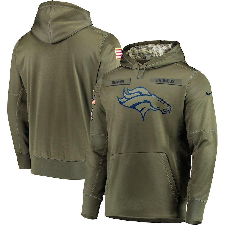 Men Denver Broncos Nike Olive Salute To Service KO Performance Hoodie Green