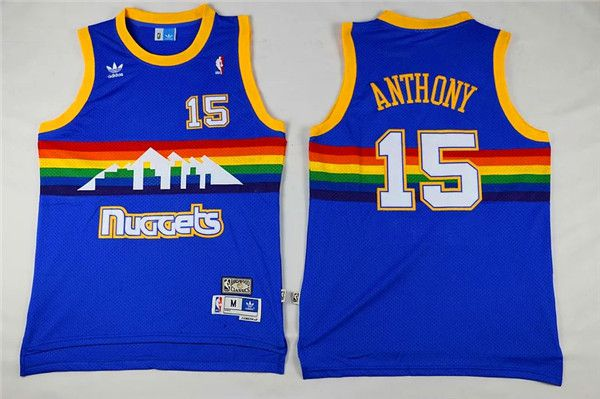 Men Denver Nuggets 15 Anthony Blue Adidas NBA Jerseys