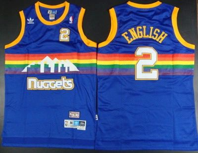 Men Denver Nuggets 2 English Blue Throwback Adidas NBA Jerseys