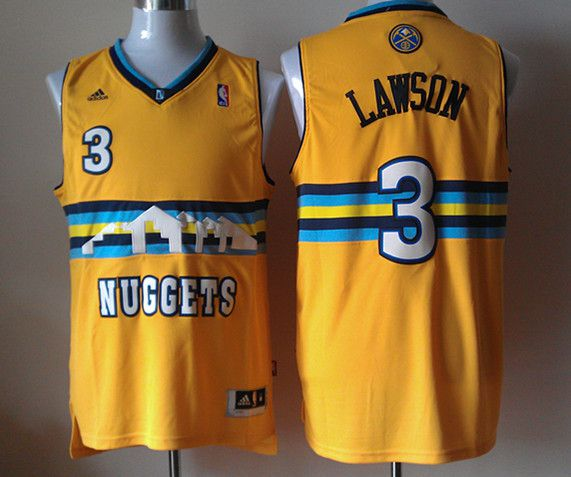 Men Denver Nuggets 3 Lawson Yellow Adidas NBA Jerseys