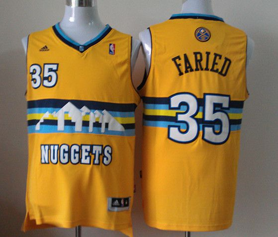 Men Denver Nuggets 35 Faried Yellow Adidas NBA Jerseys